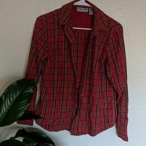 Red plaid button up shirt